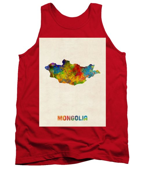 Tank Top featuring the digital art Mongolia Watercolor Map by Michael Tompsett