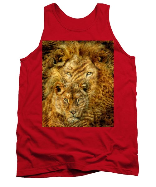 Tank Top featuring the mixed media Moods Of Africa - Lions 2 by Carol Cavalaris