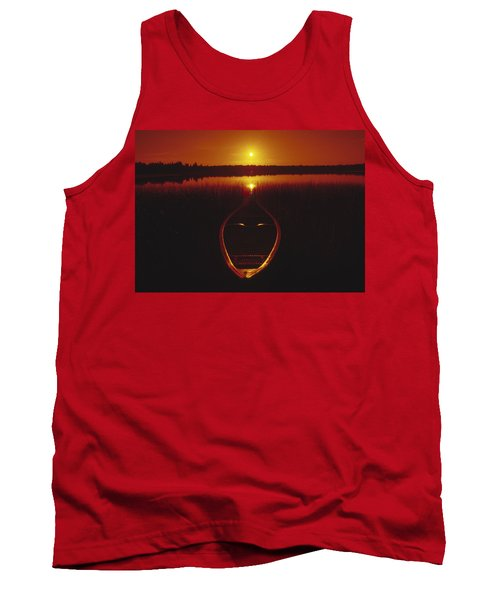 Moody Sunrise Lake Scene With Cedar Canoe Tank Top