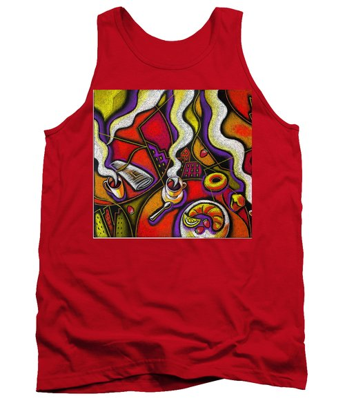 Tank Top featuring the painting Morning Coffee Cup And Muffin  by Leon Zernitsky