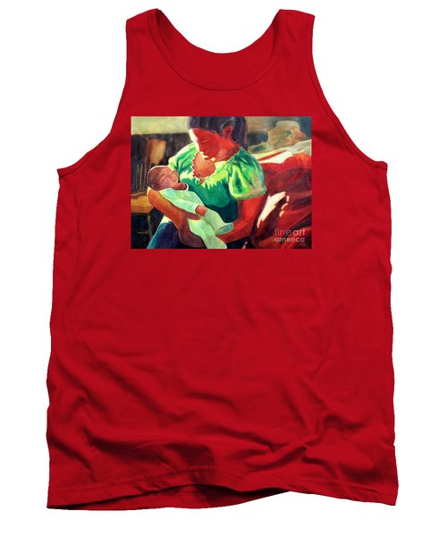 Tank Top featuring the painting Mother And Child In Red2 by Kathy Braud