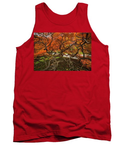 Mount Auburn Cemetery Beautiful Japanese Maple Tree Orange Autumn Colors Branches Tank Top