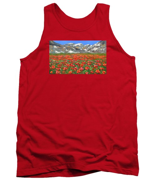 Tank Top featuring the painting Mountain Poppies   by Dmitry Spiros