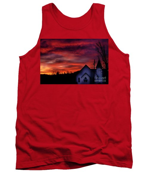 Tank Top featuring the photograph Mountain Sunrise And Church by Thomas R Fletcher