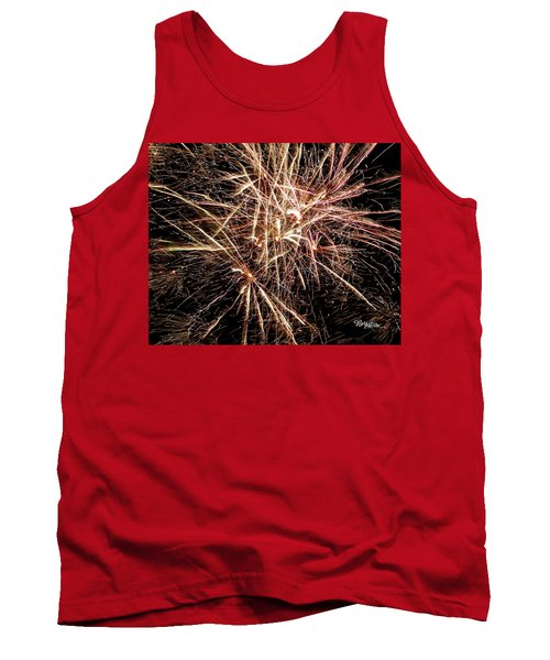 Tank Top featuring the photograph Multi Blast Fireworks #0721 by Barbara Tristan