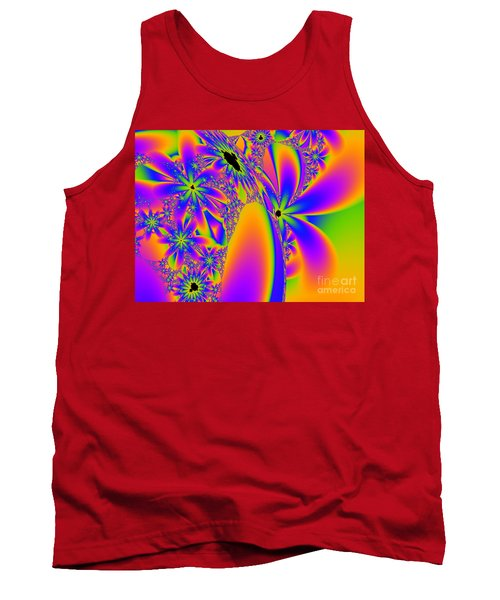 Multi-coloured Fractal Flowers Tank Top