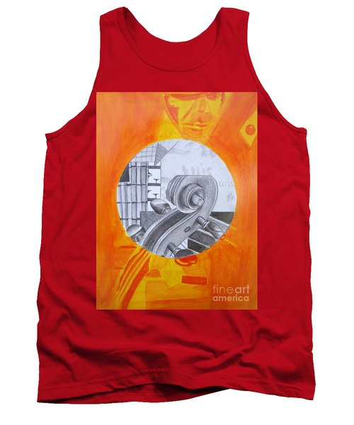 Tank Top featuring the painting Music 3 by Maria Langgle