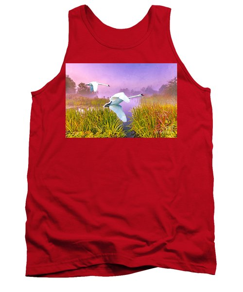 Mute Swans Over Marshes Tank Top