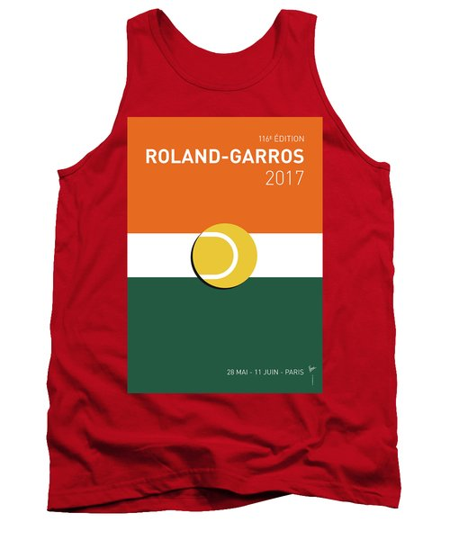 Tank Top featuring the digital art My Grand Slam 02 Rolandgarros 2017 Minimal Poster by Chungkong Art