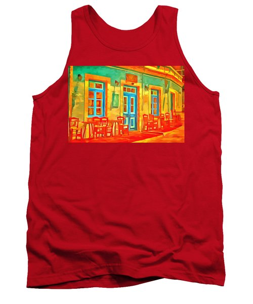 Tank Top featuring the painting neon Cafe by Harry Warrick