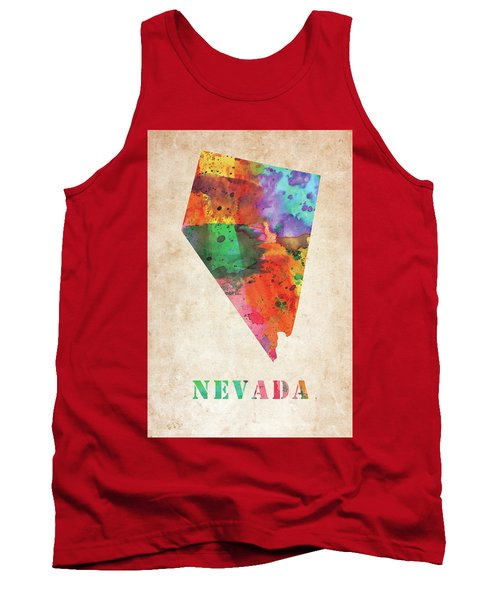 Nevada Colorful Watercolor Map Tank Top