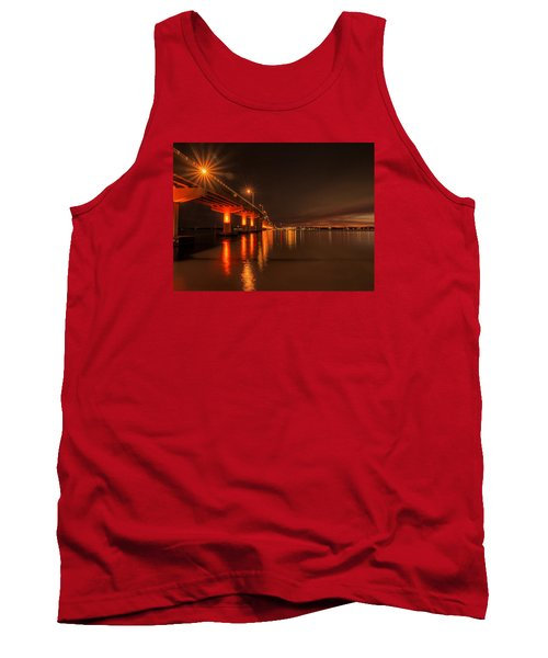 Night Time Reflections At The Bridge Tank Top by Dorothy Cunningham