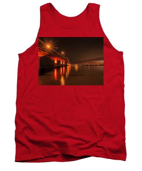 Night Time Reflections At The Bridge Tank Top