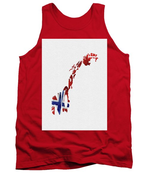 Norway Typographic Map Flag Tank Top