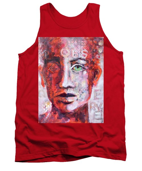 Tank Top featuring the painting Observe by Mary Schiros