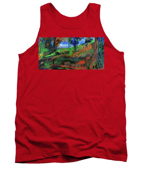 Tank Top featuring the painting Ocean View Through The Forest by Walter Fahmy