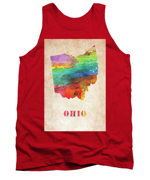 Ohio Colorful Watercolor Map Tank Top