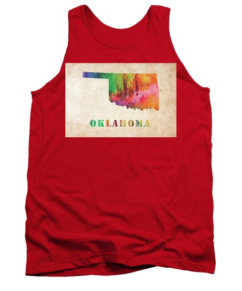 Oklahoma Colorful Watercolor Map Tank Top