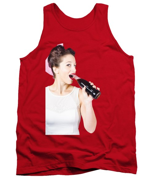 Old-fashion Pop Art Girl Drinking From Soda Bottle Tank Top