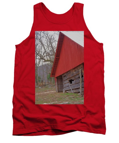 Tank Top featuring the photograph Old Log Barn by Debbie Karnes