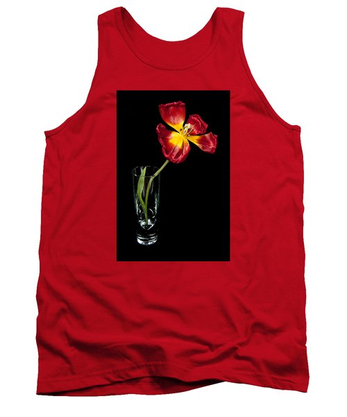 Open Red Tulip In Vase Tank Top by Helen Northcott