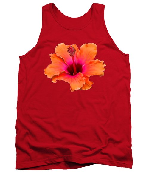 Orange And Pink Hibiscus Tank Top