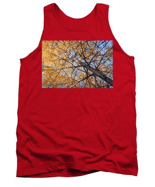 Orange Autumn Tree. Tank Top by Teemu Tretjakov