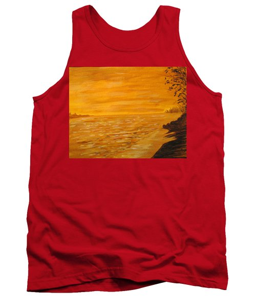 Tank Top featuring the painting Orange Beach by Ian  MacDonald