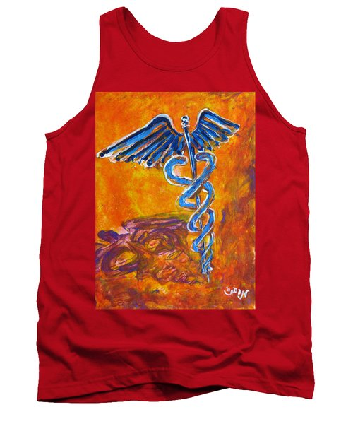 Orange Blue Purple Medical Caduceus Thats Atmospheric And Rising With Mystery Tank Top