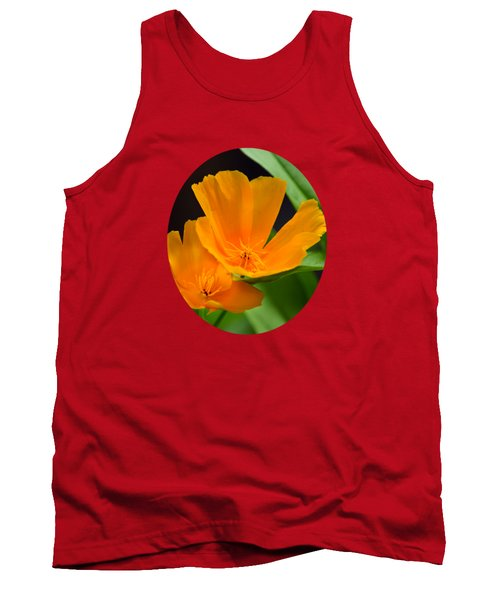 Orange California Poppies Tank Top by Christina Rollo
