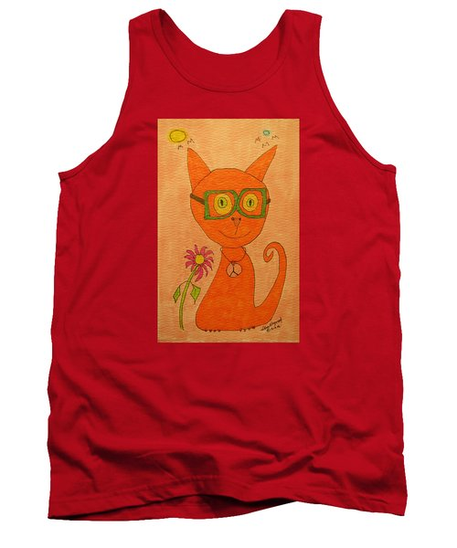 Orange Cat With Glasses Tank Top