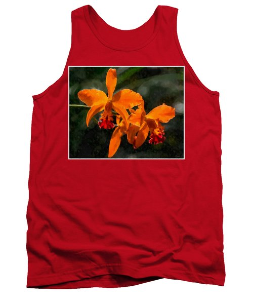 Tank Top featuring the digital art Orange Cattleya Orchid by Kai Saarto