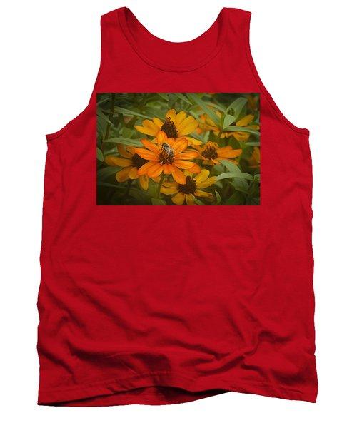 Orange Flowers And Bee Tank Top
