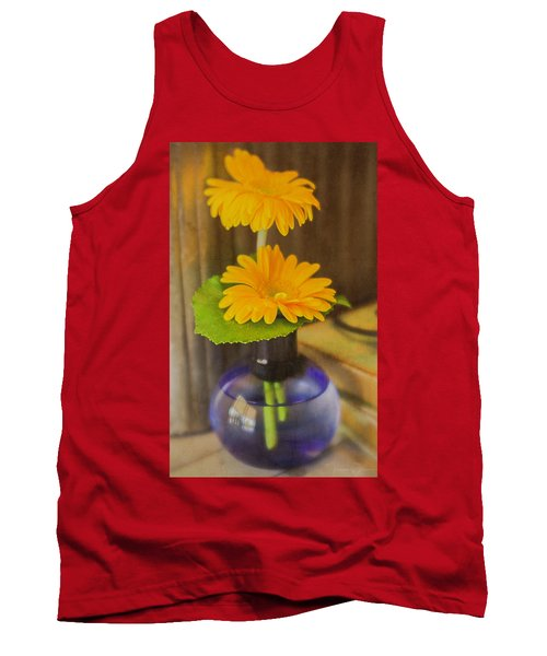 Orange Flowers Blue Vase Tank Top