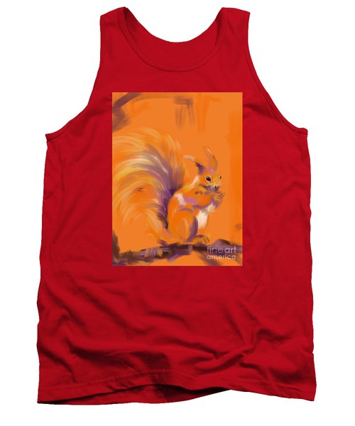 Tank Top featuring the painting Orange Forest Squirrel by Go Van Kampen