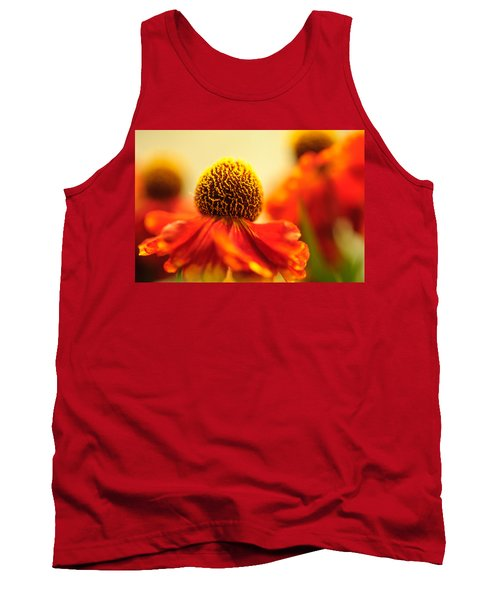 Tank Top featuring the photograph Orange Glow. Rudbeckia Macro by Jenny Rainbow