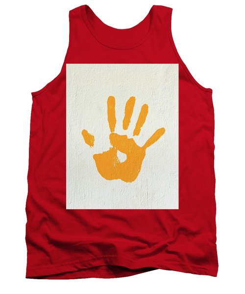 Orange Handprint On A Wall Tank Top