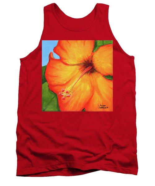 Orange Hibiscus Flower Tank Top