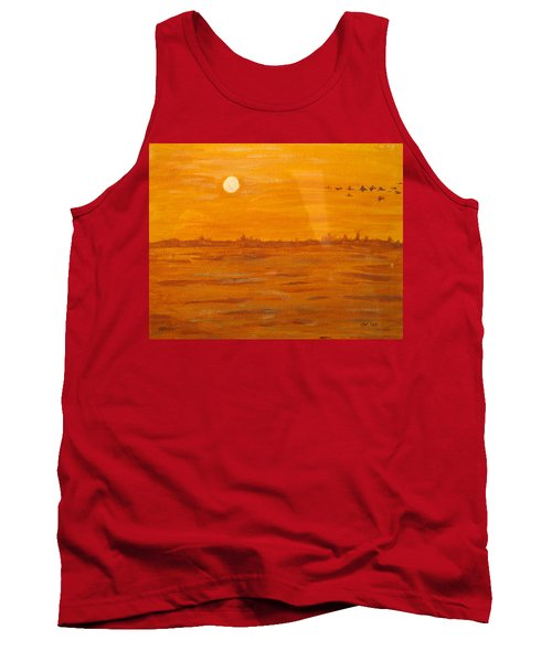 Tank Top featuring the painting Orange Ocean by Ian  MacDonald