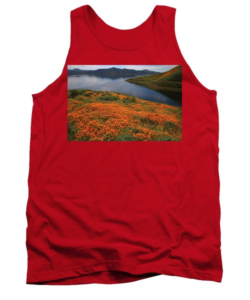 Tank Top featuring the photograph Orange Poppy Fields At Diamond Lake In California by Jetson Nguyen