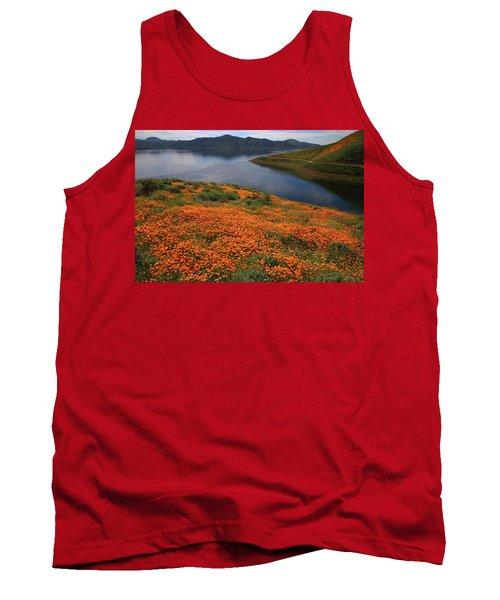 Orange Poppy Fields At Diamond Lake In California Tank Top by Jetson Nguyen