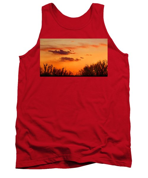 Tank Top featuring the digital art Orange Sky At Night by Shelli Fitzpatrick