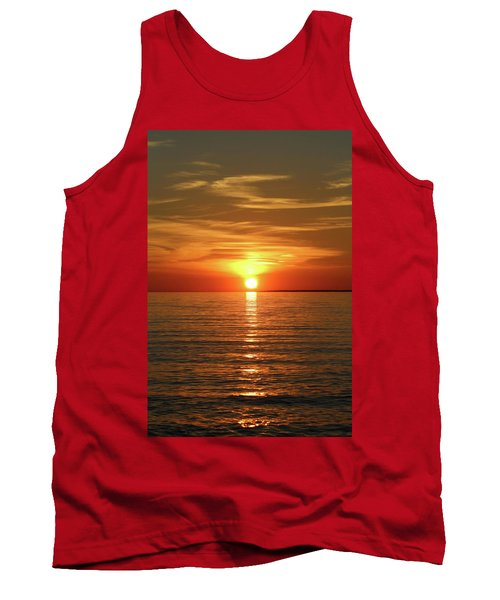 Tank Top featuring the photograph Orange Sunset Lake Superior by Paula Brown
