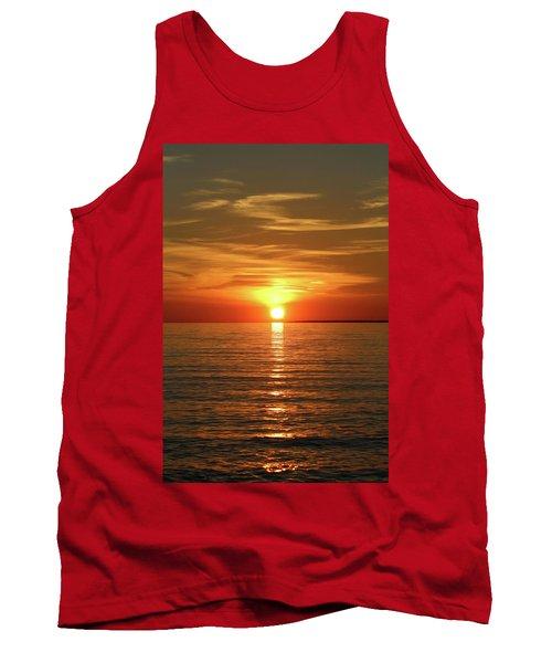 Orange Sunset Lake Superior Tank Top