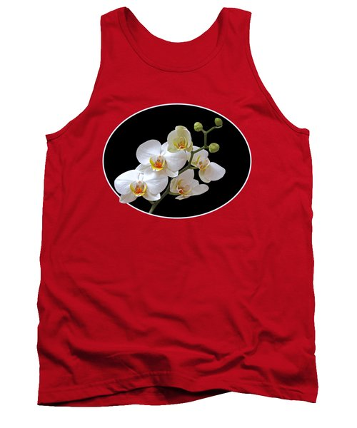 Orchids On Black And Orange Tank Top by Gill Billington
