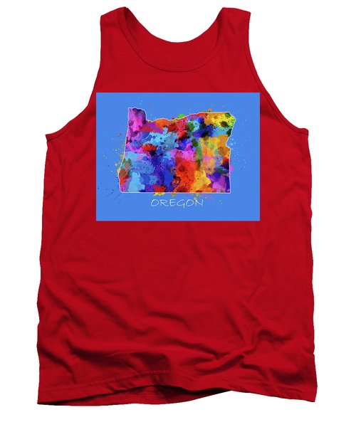 Oregon Map Color Splatter 3 Tank Top