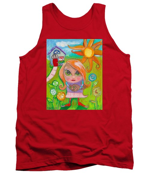 Original Art Girl And The Cat -with Flowers Tank Top by Shelley Overton