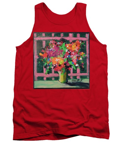 Original Bouquetaday Floral Painting By Elaine Elliott 59.00 Incl Shipping 12x12 On Canvas Tank Top by Elaine Elliott