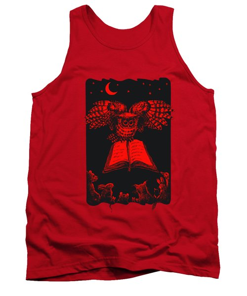 Owl And Friends Redblack Tank Top by Retta Stephenson