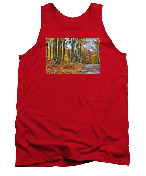 Pa Country Roads - Autumn Colorfest No. 3 - Fire In The Woods - Northumberland County Tank Top by Michael Mazaika